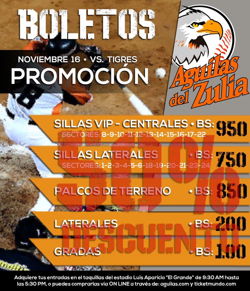 ¡ATENCIÓN AGUILUCHOS! Para el primer juego de la serie vs. Tigres (16/11) tendremos un 50% de DESCUENTO en TODAS las localidades. . Adquiere tus entradas en las taquillas del Luis Aparicio